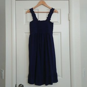 Navy Smocked Peplum Maternity Dress